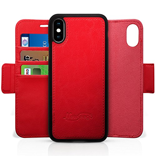 Newseego Compatible iPhone X/iPhone Xs Leather Case,Wallet Case [Detachable 2 in 1 Wallet Folio] [Premium Vegan Leather] 2-Way Stand Flip Slim Cover with Gift Box Package for iPhone X/XS-(Red)