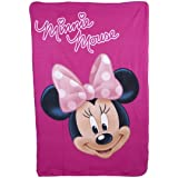 Disney Minnie Mouse Fleece Blanket - Pink - Minnie Mouse Bed Time - 100 cm x 150 cm