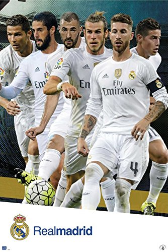 Real Madrid - Sports Poster / Print The Players - Ronaldo, Bale, James, Ramos.