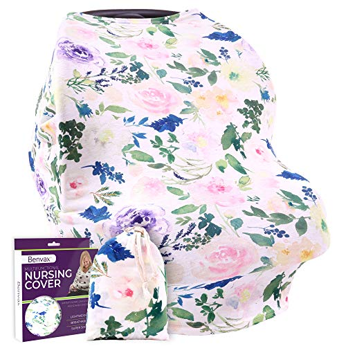 Floral Nursing Cover for Breastfeeding - Ultra Soft and Stretchy Fabric - Breastfeeding Scarf, Baby Car Seat Cover for Girls & Boys, Stroller Sunshade - Gift Packaged - Bonus Nursing Guide Included