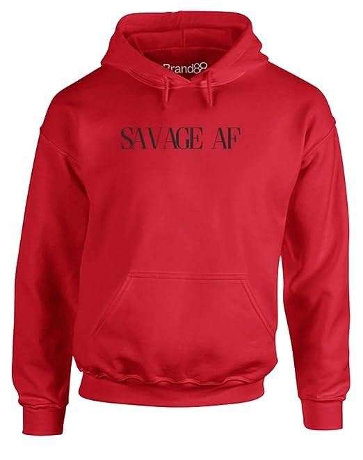 Brand88 Savage AF, AdultS Sudadera con para Adultos - Rojo/Negro L=106