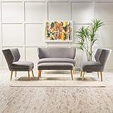 Scilla Light Grey Fabric Living Room Sofa Set