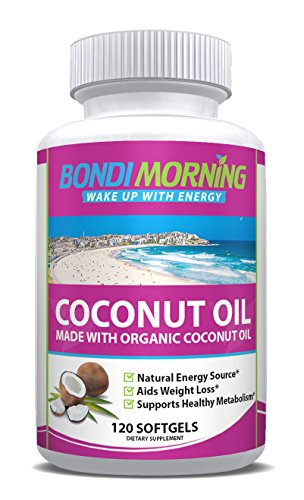 Organic Coconut Oil Softgels 1000mg - 100% Extra Virgin Supplement, Healthy & Non-GMO Formula, Aids Natural Weight Loss, Hair Growth, Boosts Energy Levels, Rich MCT's Source - 120 Pills (Best Fat Loss Supplements Australia)