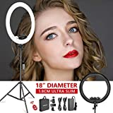 Neewer Ring Light Kit [Upgraded Version-1.8cm Ultra Slim]-18 inches,3200-5600K,Dimmable LED Ring Light with Light Stand,Phone Clip,Hot Shoe Adapter for Portrait Makeup Video Shooting(Black)