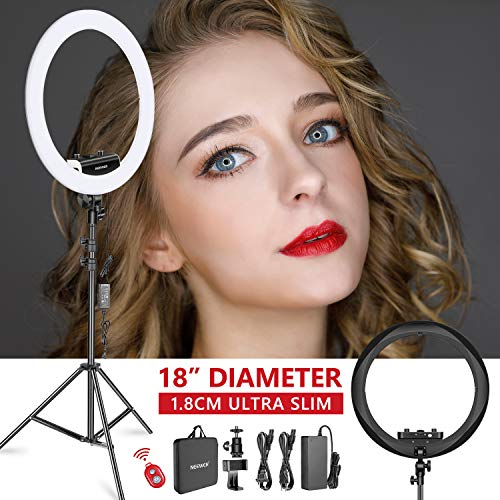 Neewer Ring Light Kit [Upgraded Version-1.8cm Ultra Slim]-18 inches,3200-5600K,Dimmable LED Ring Light with Light Stand, Phone Clip,Hot Shoe Adapter for Portrait Makeup Video Shooting (Black) ()