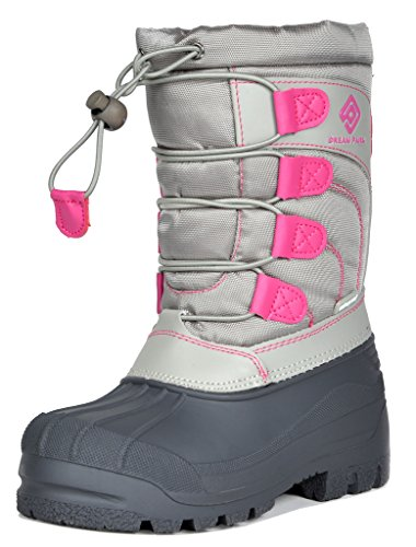 DREAM PAIRS Big Kid KNORTH Grey Pink Isulated Fur Winter Waterproof Snow Boots Size 4 M US Big - Winter Boots Snow Pink