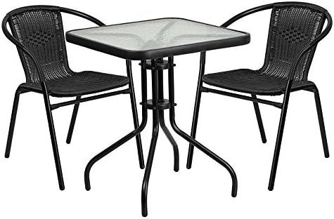 3 comedores de aluminio para patio, color negro: Amazon.es: Jardín
