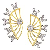 Efulgenz Ear Cuffs Earring Jackets CZ Leaf Feather Climber Cartilage Cuff Wrap Front and Back Studs