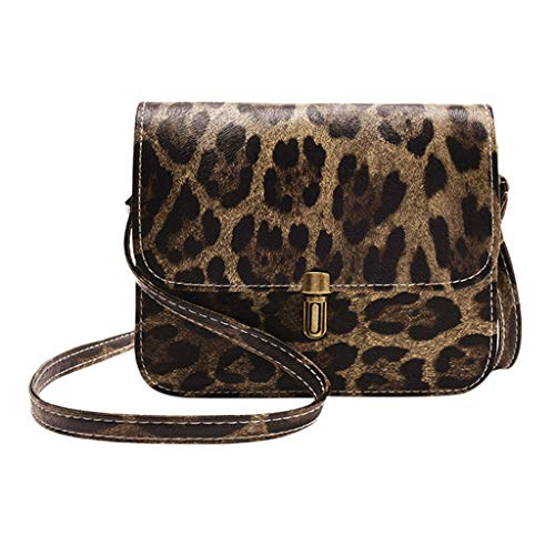Sonmer Women Fashion Leopard Print Fawn Pendant Messenger Shoulder Bag,7.48''x1.96''x5.90