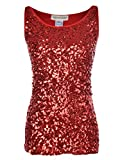 Anna-Kaci Womens Sparkle & Shine Glitter Sequin Embellished Sleeveless Round Neck Tank Top, Red, X-Large