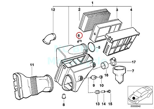 BMW Genuine Air Mass Sensor Clip - Air Filter Housing To Air Mass Sensor 528e 318i 318is 325e 325i 325ix 750iL 525i 318i 318is 318ti 320i 323i 325i 325is 328i M3 M3 3.2 525i 528i 530i 540i 540iP M5 320i 323Ci 323i 325Ci 325i 325xi 328Ci 328i 330Ci 330i 330xi ALPINA V8 Z8 X5 3.0i X5 4.4i X5 4.6is X5 4.8is 745i 745Li X3 2.5i X3 ()