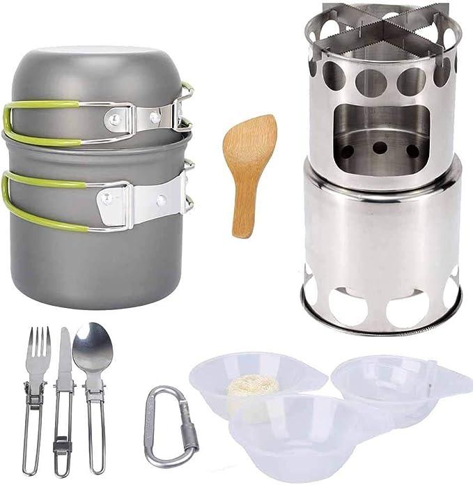 Olla de cocina camping Kit Wild supervivencia Utensilios con ...