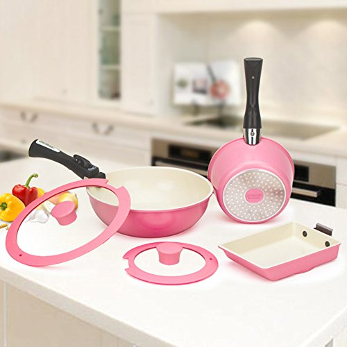 IRIS OHYAMA Ceramic Quick Pan 7-Piece Set CQP-SE7D Pink 527930