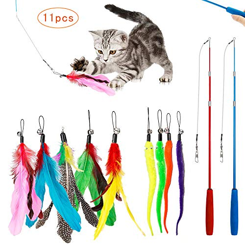 (Timor Cat Feather Toys, Retractable Interactive Cat Feather Toy, 2 Wands&9 Attachments Worm Birds Feathers)