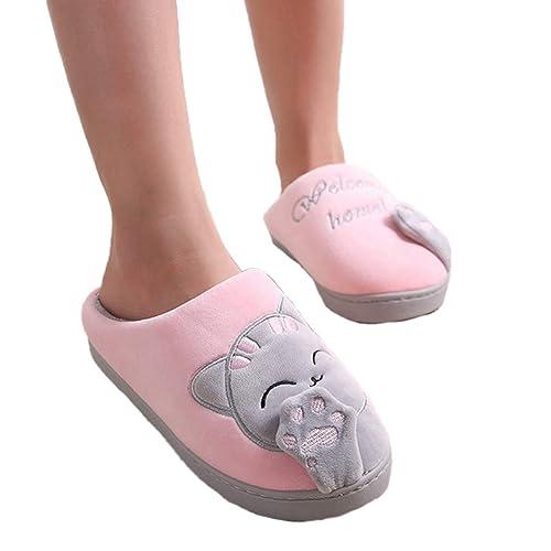 Mujer de Invierno Zapatillas de casa de Dibujos Animados Gato casa Antideslizante Suave cálido Interior Dormitorio ama Pareja Zapatos de Piso: Amazon.es: ...
