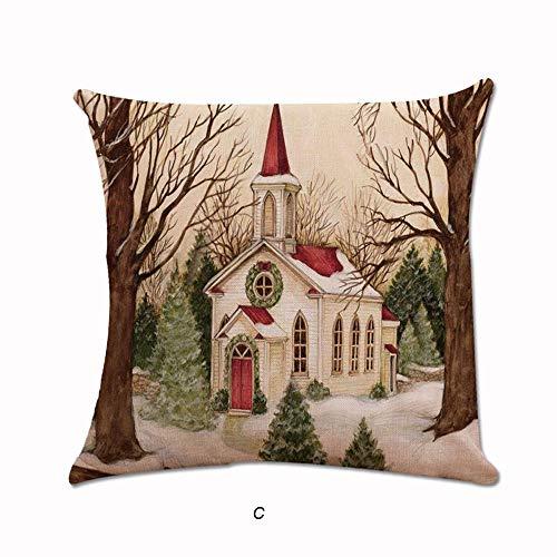 Merry Christmas Pillow Sofa Waist Pgojuni Square Pillow Case Decorative Cushion Pillow Sofa Cushion Cover 1pc (G)