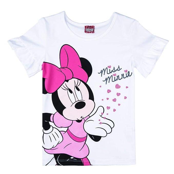 Disney Ragazze Minnie Mouse Maglietta T-Shirt Rosa Scuro
