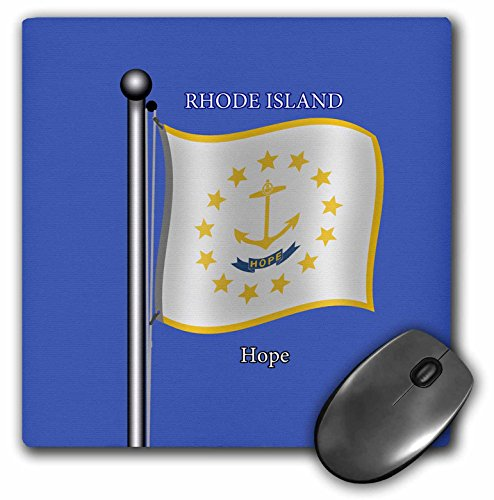 Rhode Island Motto - 3dRose 777images Flags and Maps - States - Waving Flag of Rhode Island on flagpole with State Motto - Mousepad (mp_212842_1)