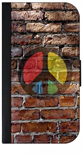 Peace Sign-Graffiti Wall Art-Leather-Look Iphone 6 Plus Wallet Case with Closing Flip Cover and Credit Card Slots - Compatible with the Iphone 6 Plus ONLY - Peace Trendy Sign