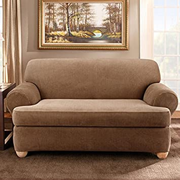 Sure Fit Stretch Stripe 2 Piece   Loveseat Slipcover   Brown (SF37726)
