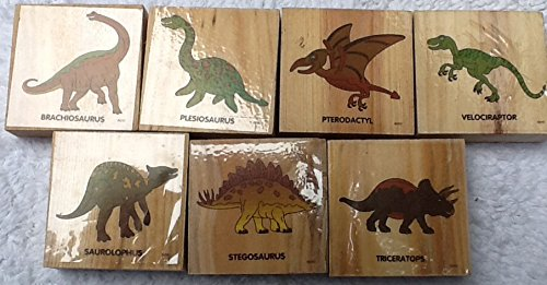 Dinosaur Wood Mounted Rubber Stamps Set - 7 Prehistoric Animal Stamps