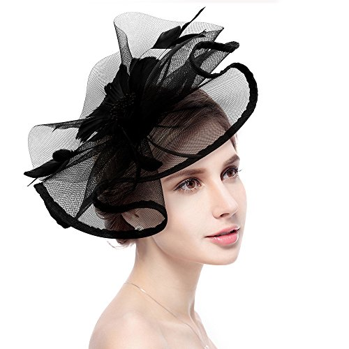 Box Hat Rose - Fascinator Hat Jack & Rose Flower Feather Net Mesh Kentucky Derby Tea Party Headwear with Hair Clip and Hairband for Women or Girls Valentines Day Gifts (Black)