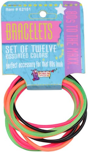 [80's Color Rubber Bracelet Set] (80s Earrings)