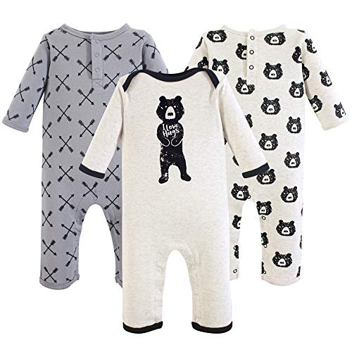 Yoga Sprout Baby Cotton Union Suit, Bear Hugs 3Pk, 9-12 Months (12M)
