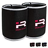 Iron Rebel Elbow Sleeves - Compression Support for Powerlifting, Bodybuilding, Training or Muscle Recovery for Men and Women - Black/White - 12 Inch (Pair)