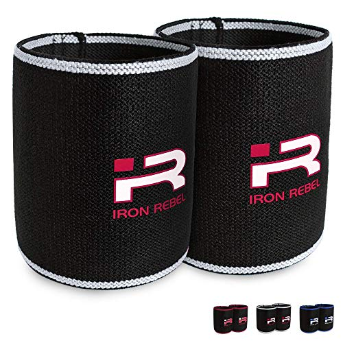 Iron Rebel Elbow Sleeves - Compression Support for Powerlifting, Bodybuilding, Training or Muscle Recovery for Men and Women - White - 13 Inch, Pair