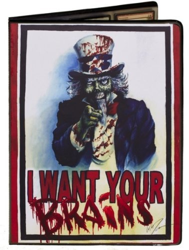 Uncle Sam Zombie Artwork - I Want Your Brains - Combo Portfolio Album (9 Pocket Trading Card Binder) by Max Protection