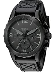 Fossil Men's JR1510 Nate Chronograph Black Leather Watch