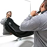 Dr Dappers Beard Bib Cape for Shaving - Beard Catcher & Hair Clippings Apron with Suction Cups for Mirror - Professional Salon Grade Black Hair Trimmings Cleaner for Men - Makes Grooming Disposal Easy