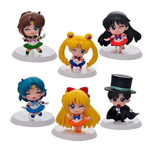 6 Pcs Sailor Moon Action Figure, Sailor Moon Mini Figures, Cake Topper Decoration, 2
