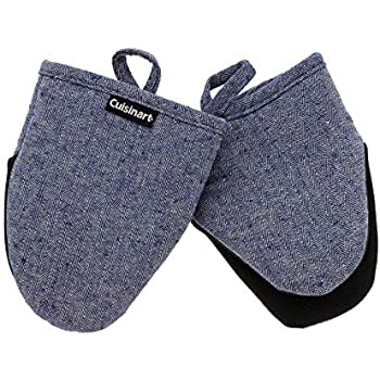 Cuisinart Oven Mitts, 2pk - Heat Resistant Oven Gloves to Protect Hands and Surfaces with Non-Slip Grip and Hanging Loop - Ideal Set for Handling Hot Cookware, Bakeware - Chevron, Blue