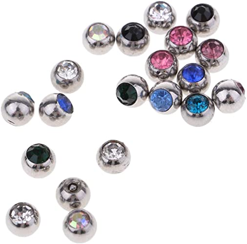 20PCS Stainless Steel Ball Threaded Piercing Jewelry Replacement 1.2mm x 3mm