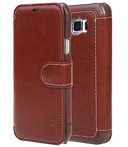Galaxy S6 Active case, S6 Active Flip Case, E LV Samsung Galaxy S6 Active Case Cover - Slim PU Leather Flip Folio Wallet Case Cover for Samsung Galaxy S6 Active - Brown/Brown