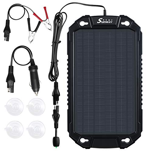 Sunway Solar 12V Car Battery Charger & Maintainer 8W Solar Panel Power Trickle Charger kit Portable Backup for Car Automotive RV Marine Boat Truck Motorcycle Trailer Tractor Powersports Farm Equipment