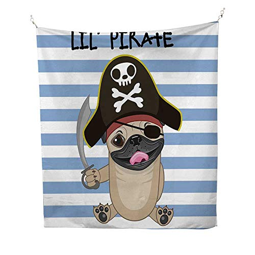 Piratewall Tapestry for bedroomBuccaneer Dog in Cartoon Style Costume Lil Pirate Striped Backdrop Funny Animal 51W x 60L inch Beach tapestryMulticolor]()