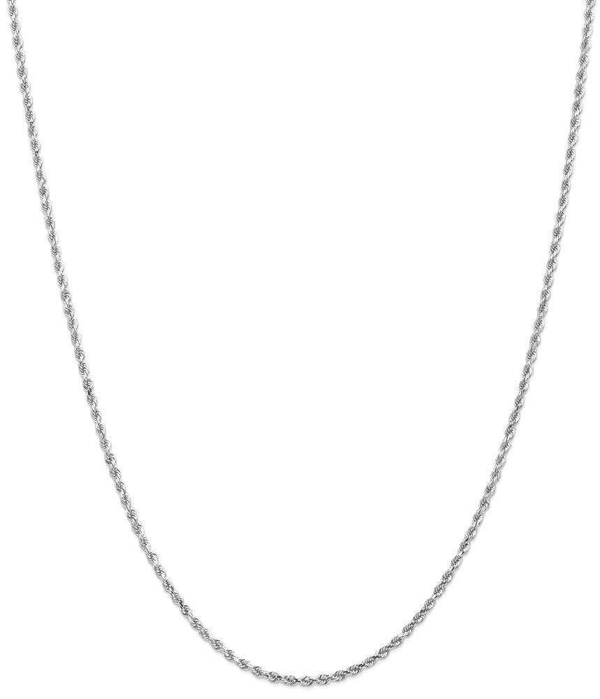 ICE CARATS 14k White Gold 2mm Link Rope Chain Necklace 30 Inch Handmade Fine Jewelry Gift Set For Women Heart