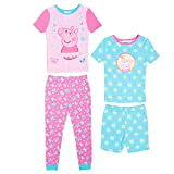 Peppa Pig Toddler Girls 4 Piece Cotton Pajama Set, Pink, 6X