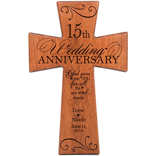 LifeSong Milestones Personalized 15th Wedding Anniversary Cherry Wood Wall Cross Gift for Couple 15 Year for Her, for Him God Gave Me You for All The Ups and Downs 7 x 11