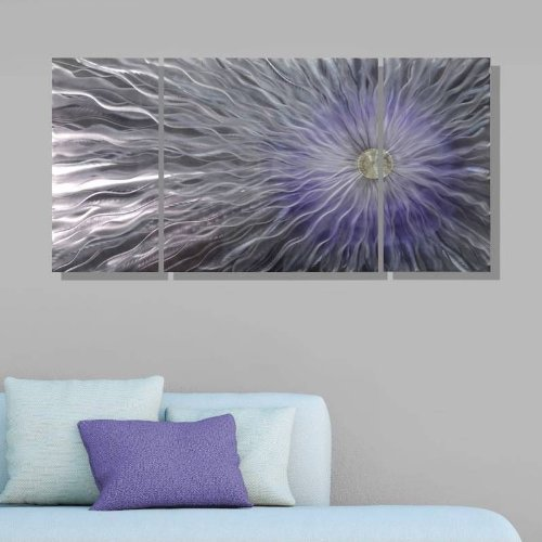 Large Unique Light Purple and Silver Fusions Metal Wall Art Painting - Metallic