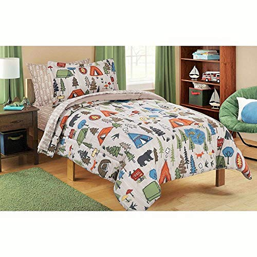Mainstays Kids 5-Piece Bed in a Bag Coordinating Bedding Set, Twin (Green/Brown Camping Design)