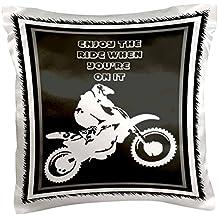 "3dRose pc_78775_1 Enjoy The Ride- motocross, action, adrenaline, adventure sport, alternative, bike, off road-Pillow Case, 16 by 16"""