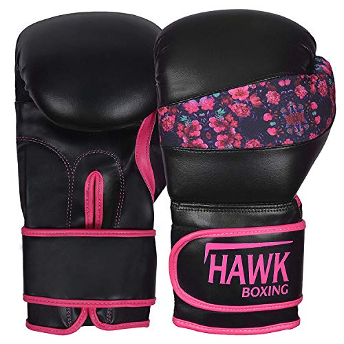 (Hawk Pink Boxing Gloves Ladies Women's Flowers Girls Leather Training Gloves Bag Gloves Mitts Muay Thai Kick Boxing Gloves (Black, 16oz))