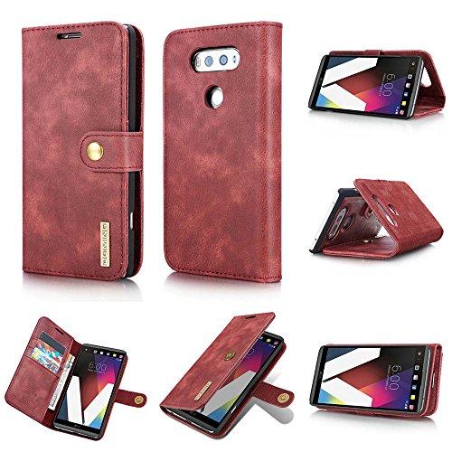 LG V20 Case,DG.MING Magnetic Detachable 2 in 1 Vintage Genuine Cowhide Leather Folio Flip Wallet Cases Removable Retro 3 Card Slots Phone Back Cover for LG V20 (Red)