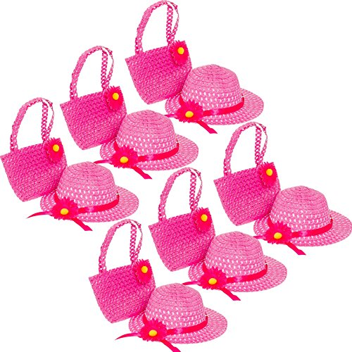 6 Pack Cutie Collections Girls Tea Party Sun Hat & Purse Sets (Pink) (Party Toddler Hat)