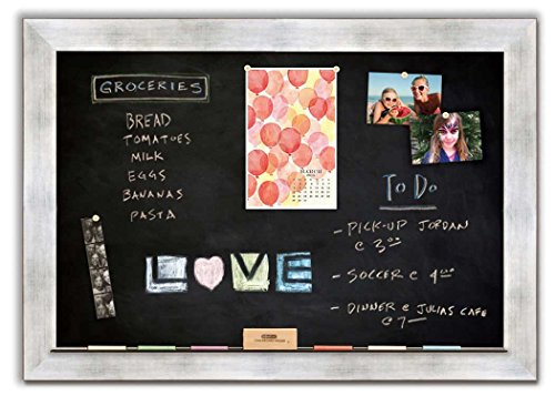 Magnetic Chalkboard with Torino Silver Frame by The Cork Board Shop