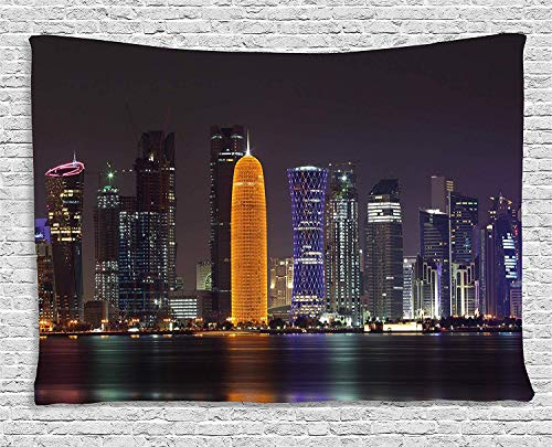 Urban Tapestry, Qatar Middle East Town with Luminous Skyscraper at Night Arabic View, Wall Hanging for Bedroom Living Room Dorm, 80 W X 60 L Inches, Charcoal Grey Purple Orange from THndjsh
